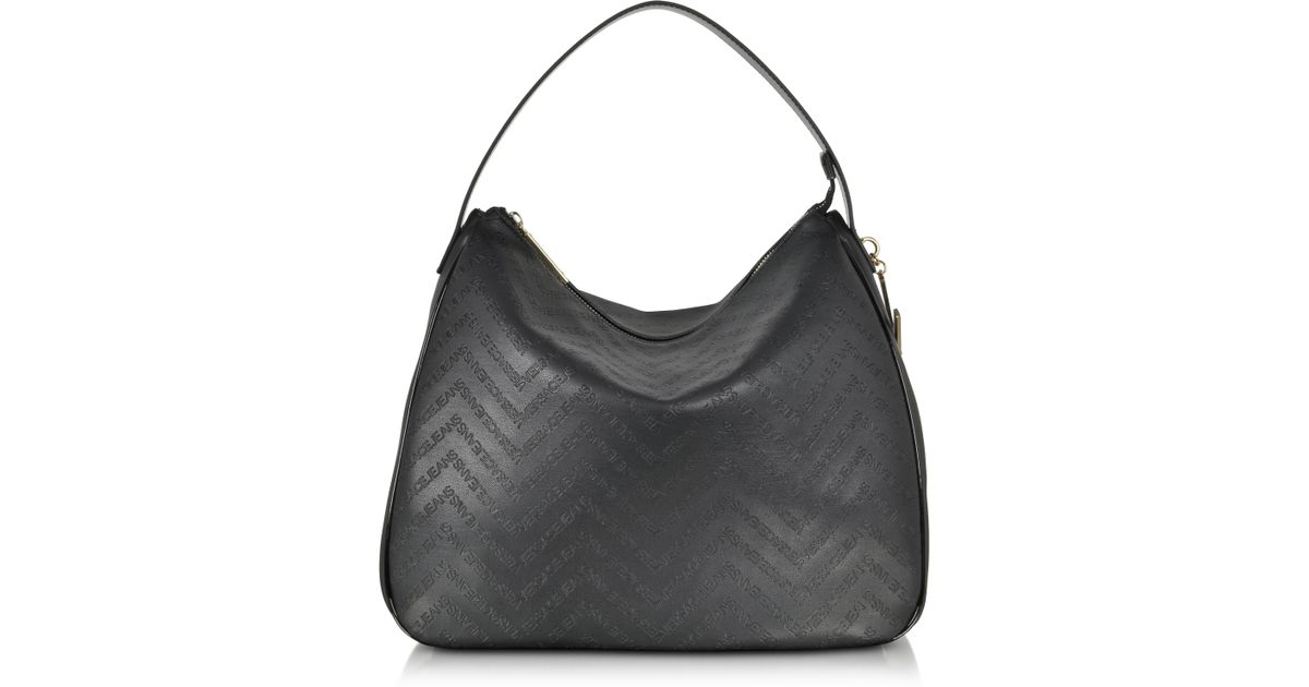 fade33ed9a57 Lyst - Versace Jeans Black Signature Embossed Eco Leather Shoulder Bag in  Black