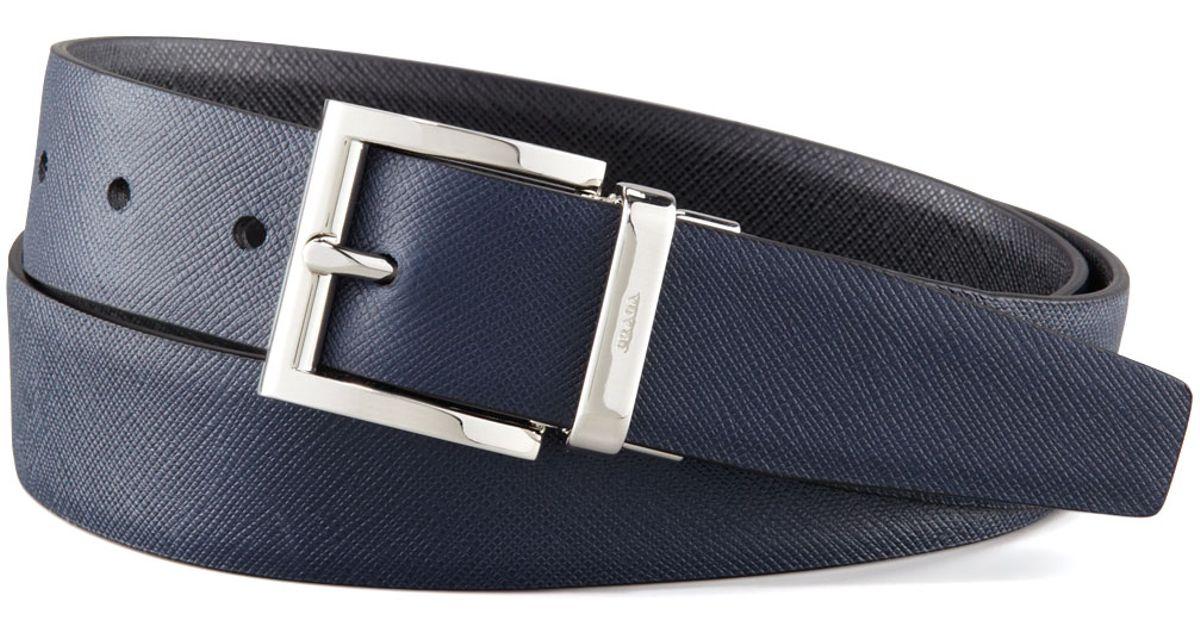 6316732fd8 Prada Blue Saffiano Leather Reversible Belt for men