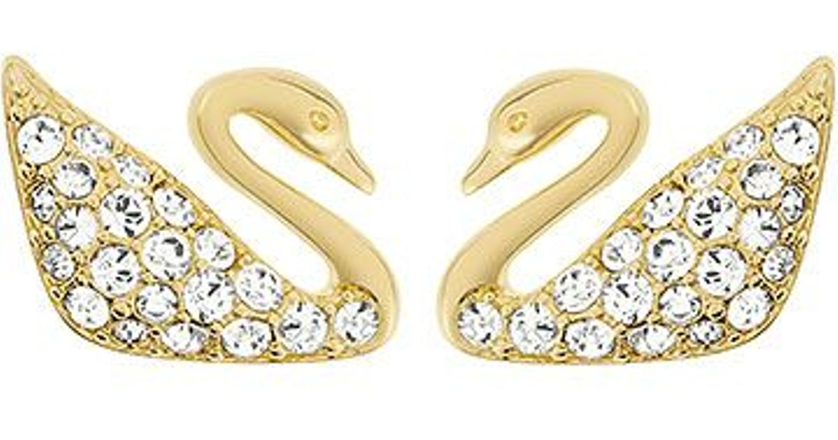 swarovski mini earrings swarovski swan mini pierced earrings in metallic lyst 2829