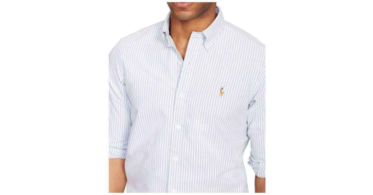 dc14c501 Polo Ralph Lauren Slim-fit Striped Stretch-oxford Shirt in Blue for Men -  Lyst