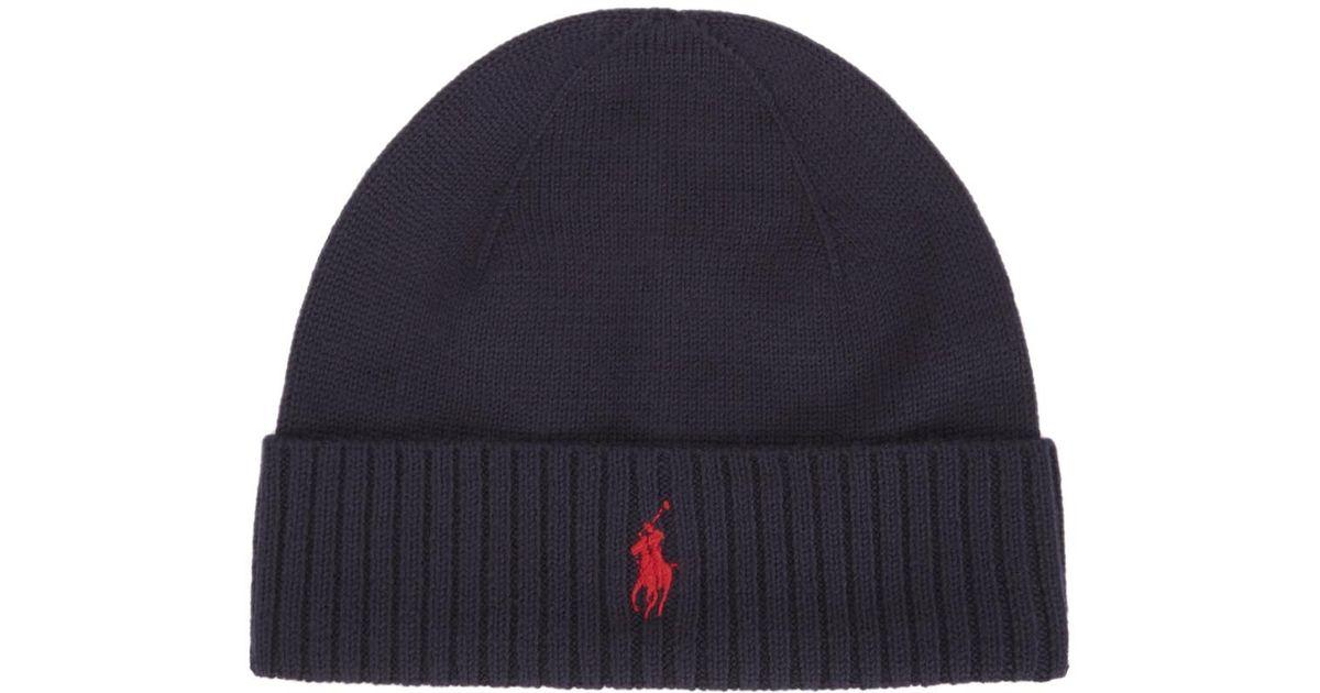 Polo Ralph Lauren Navy Merino Wool Hat in Blue for Men - Lyst fd44deb3f923
