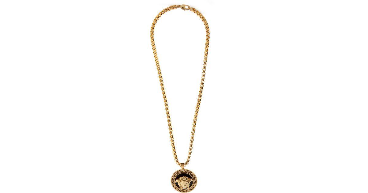 Lyst versace black gold medusa medalion necklace in black for men aloadofball Images