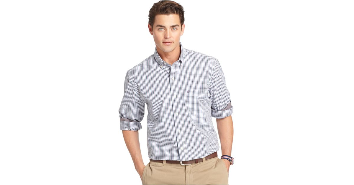 Izod big and tall plaid long sleeve shirt in gray for men for Big and tall long sleeve shirts