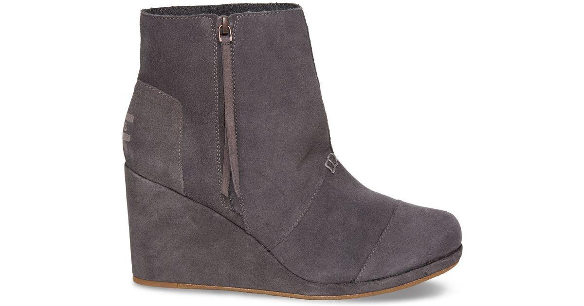 fdc9823a0eef2 TOMS Gray Desert Wedge High (dark Grey Suede) Wedge Shoes