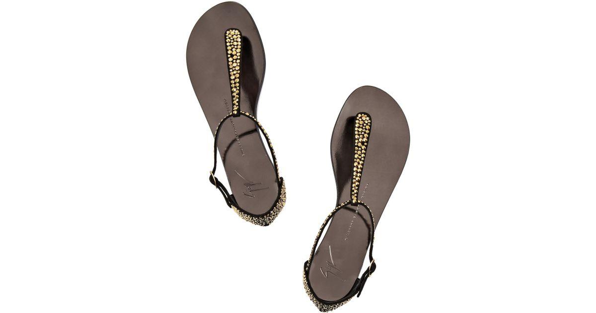 Giuseppe Zanotti Nuvo Rock Swarovski Flat Sandals 5JJXPj