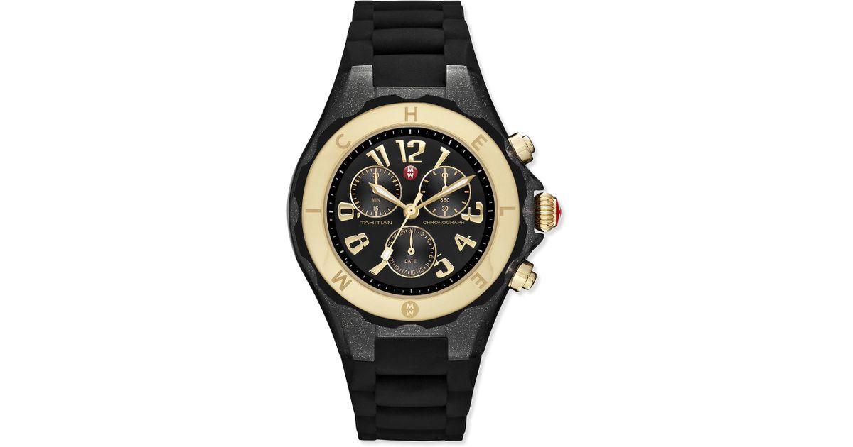 2ca60f0c6 Michele Tahitian Jelly Bean Watch W/ Black Silicone Strap in Black - Lyst