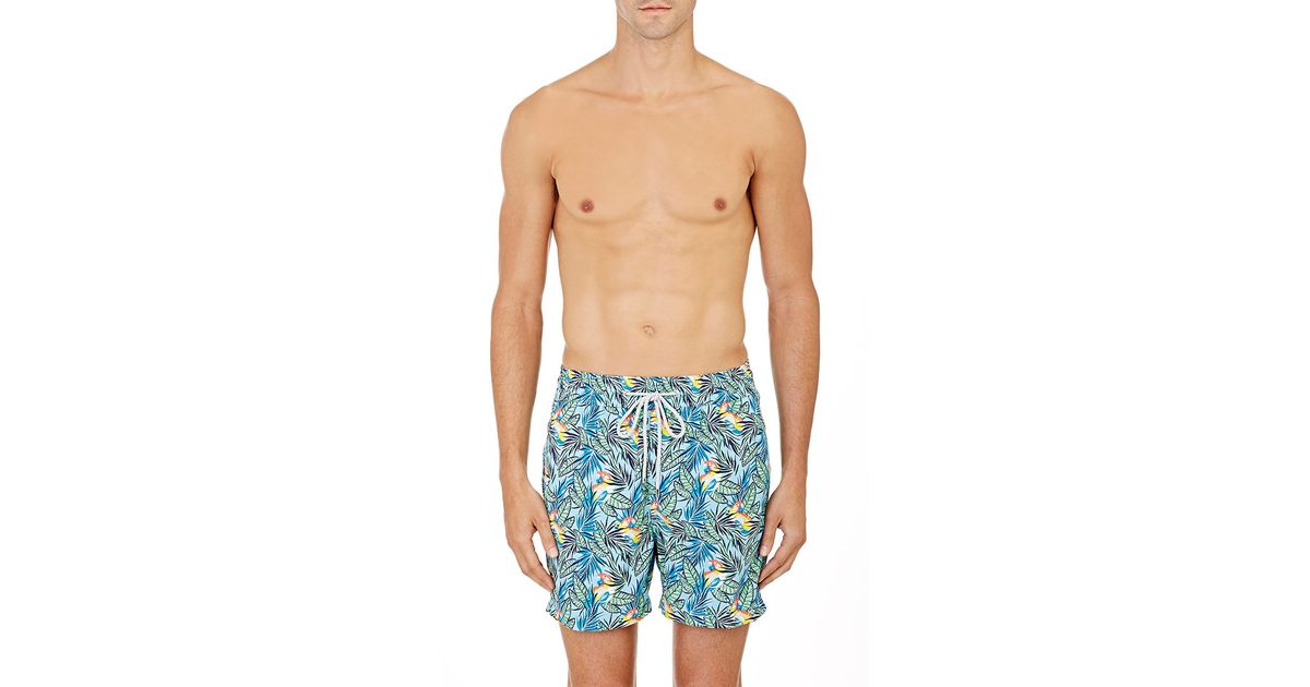 01bf659a63 Love Brand & Co Parrot Microfiber Swim Trunks in Blue for Men - Lyst