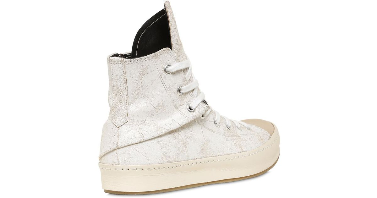 miharayasuhiro crackled leather high top sneakers in white