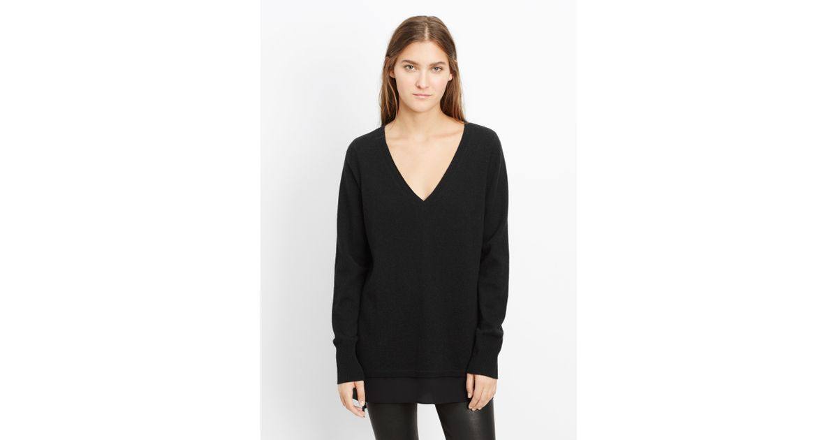 80cbb96835b Vince Black Wool Cashmere V-neck Sweater With Silk Contrast