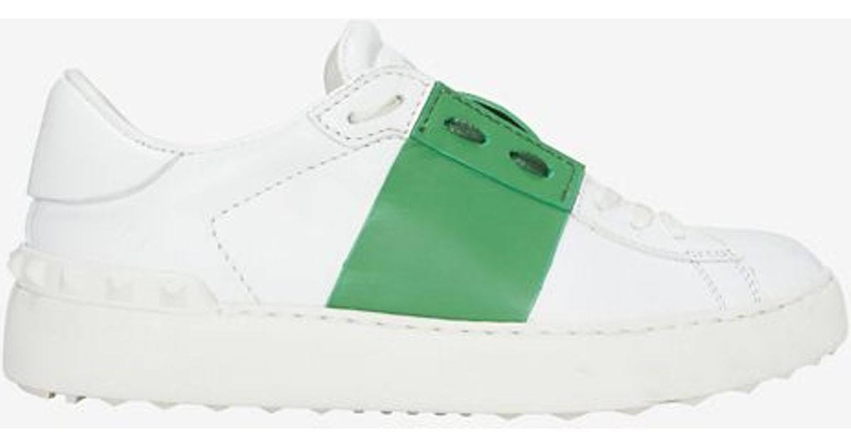 Valentino Green Stripe Leather Sneaker