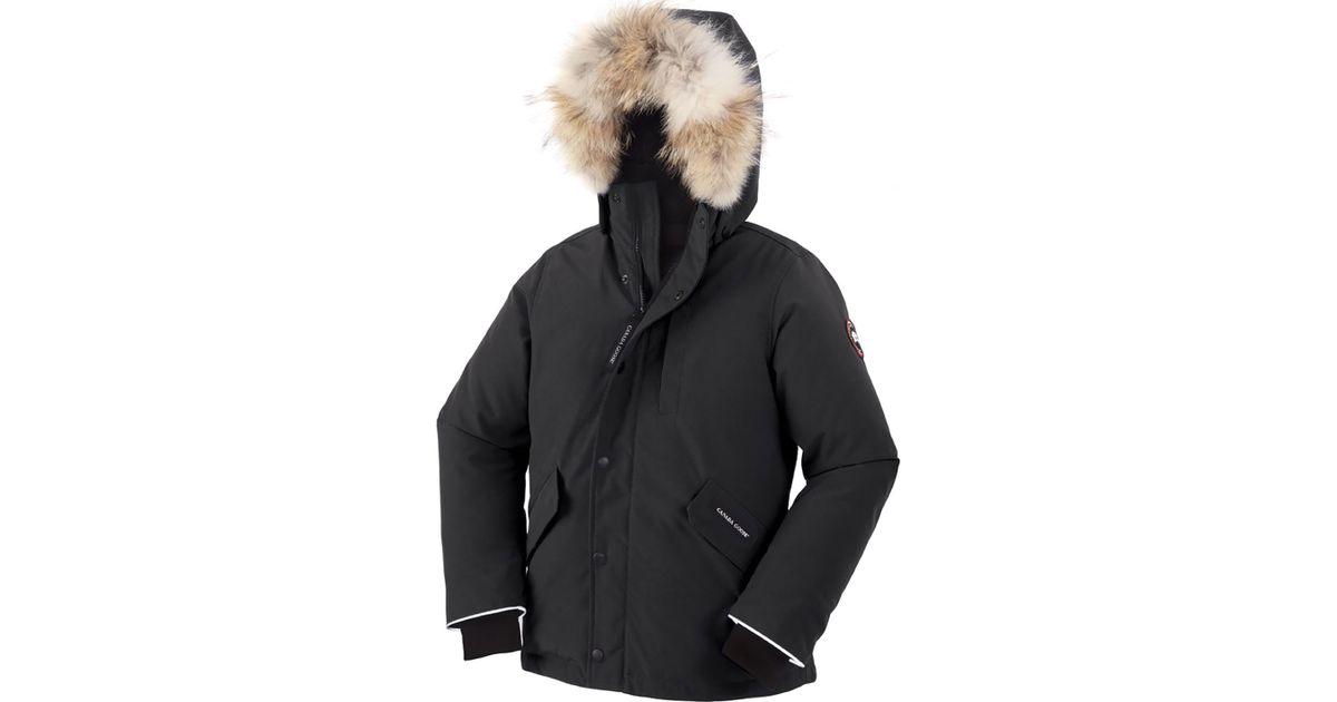 6d6e555bf19 Canada Goose - Black Youth Logan Parka With Fur Trim - Lyst