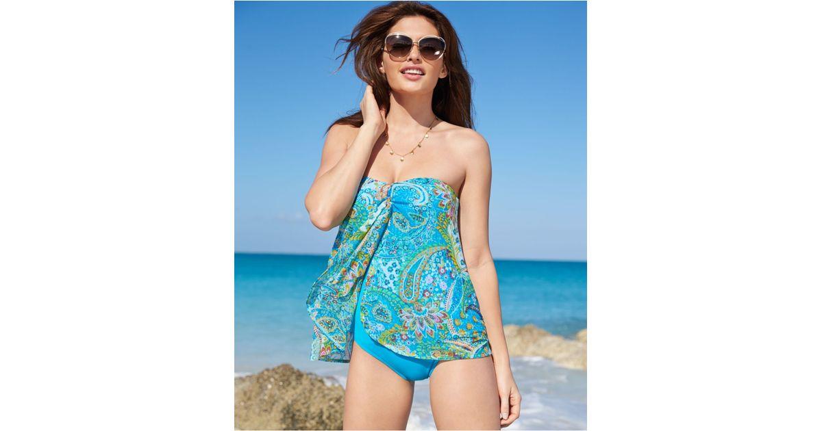 df38cacc77f1a Lyst - Lauren by Ralph Lauren Printed Flyaway One-Piece Swimsuit in Blue