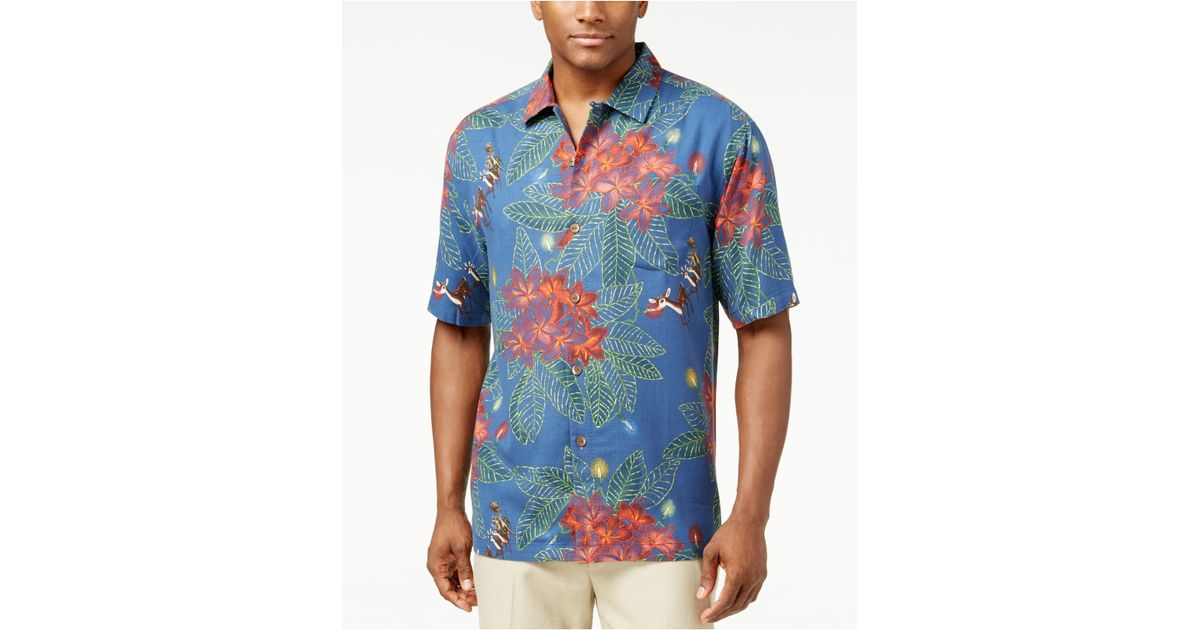 Tommy bahama harbour lights holiday shirt in blue for men for Tommy bahama christmas shirt 2014