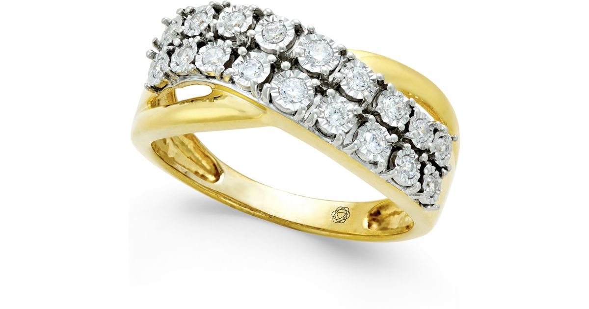 Macy S Diamond Two Row Crossover Ring 1 4 Ct T W In 10k White Or Yellow Gold In Metallic