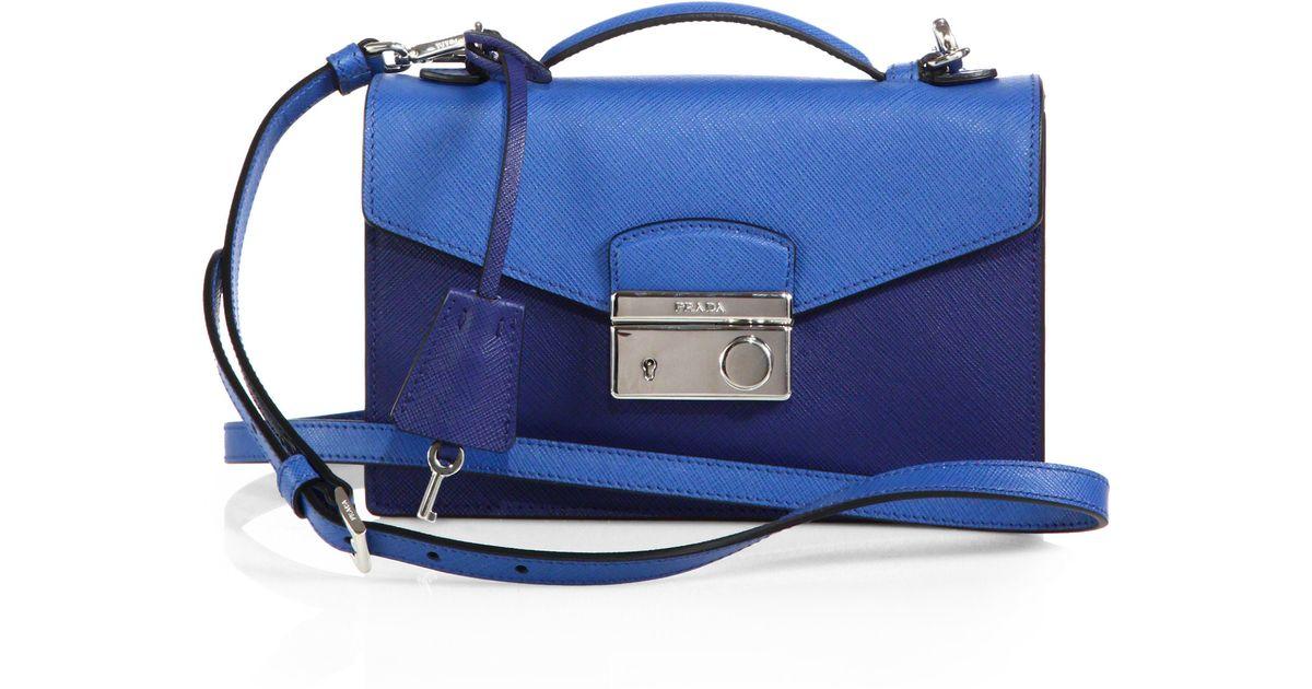 04006bc23beb ... ebay free shipping lyst prada saffiano lux bicolor crossbody bag in  blue 25b09 1c1ba e2ecf b5ad0