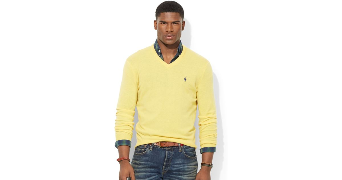 V Sweater For Lauren Wool Men Yellow Loryelle Neck Polo Ralph Merino b6gmvf7yIY