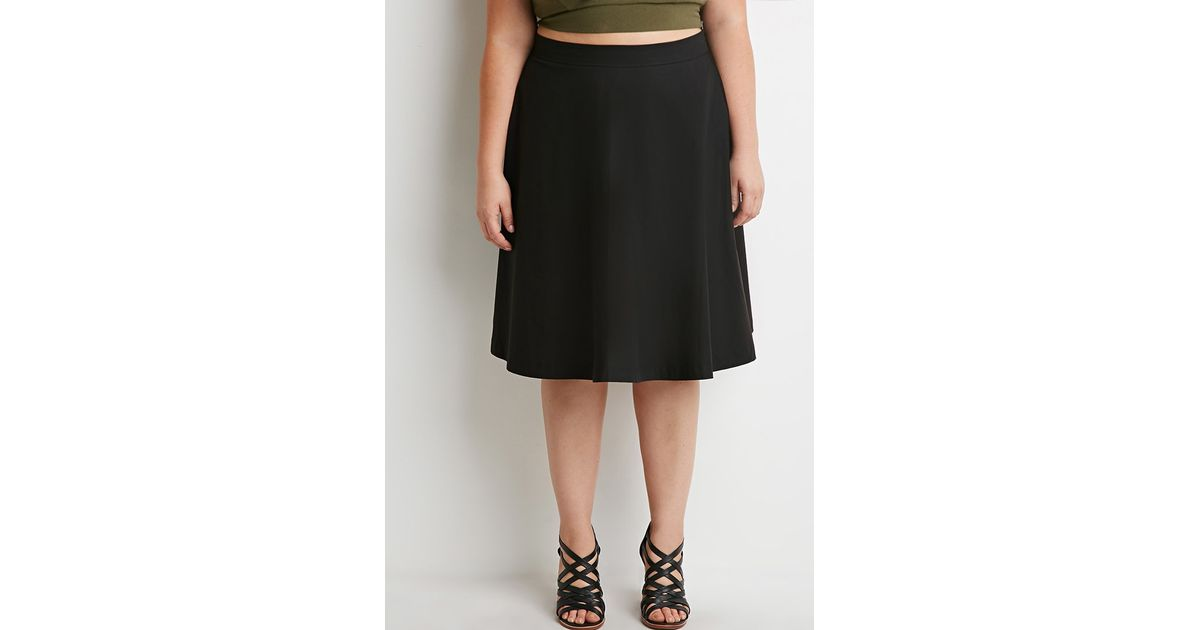 forever 21 plus size classic a line skirt in black lyst