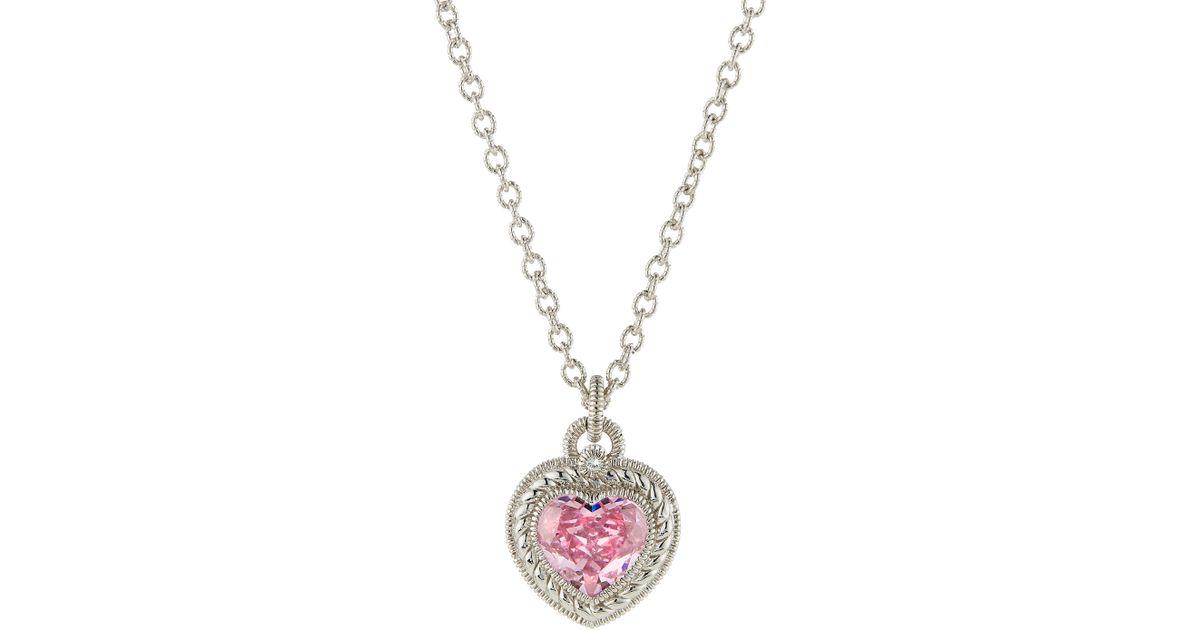 Lyst judith ripka pink crystal heart pendant necklace in metallic aloadofball Gallery