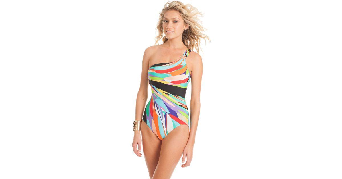 7a4e9517a6d2 Lyst - Trina Turk Prisma 1 Shoulder One Piece