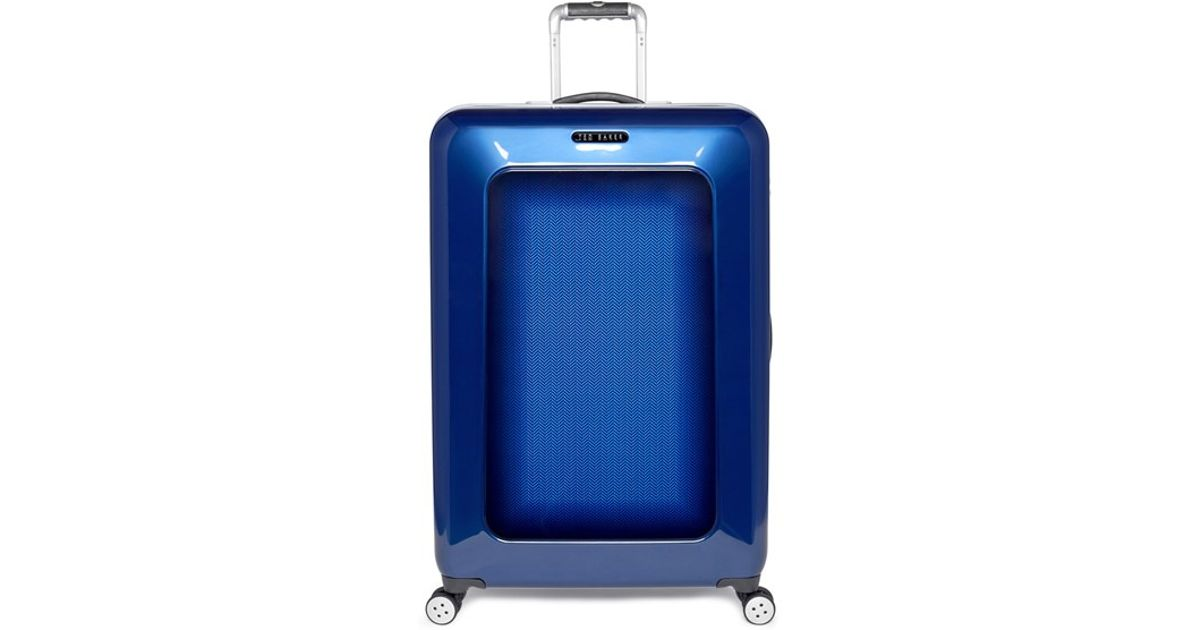 fa9565178731d0 Lyst - Ted Baker Large Herringbone Rolling Suitcase in Blue for Men