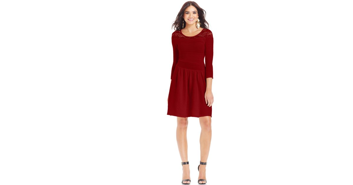 3b01294a6c9 Lyst - Jessica Simpson Opera Ribbed Sweater Dress in Red