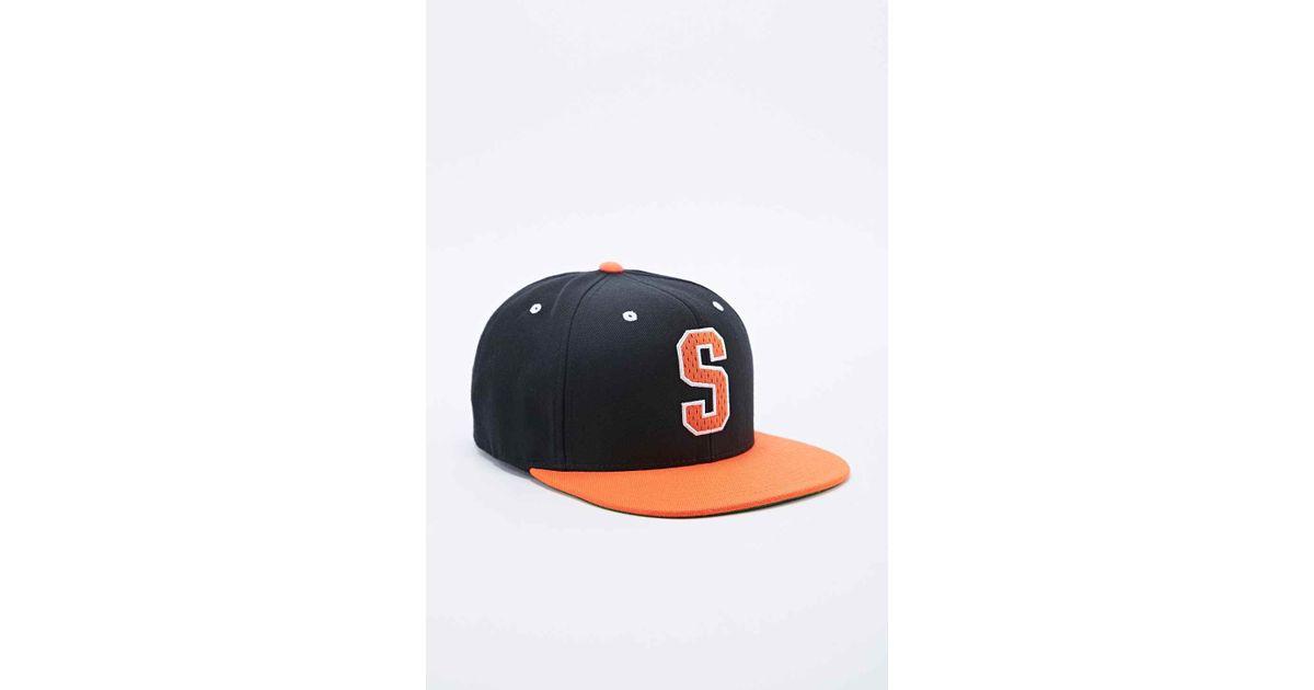 cc4f48e4e62 Stussy Big S Snapback Cap In Black And Orange in Black for Men - Lyst