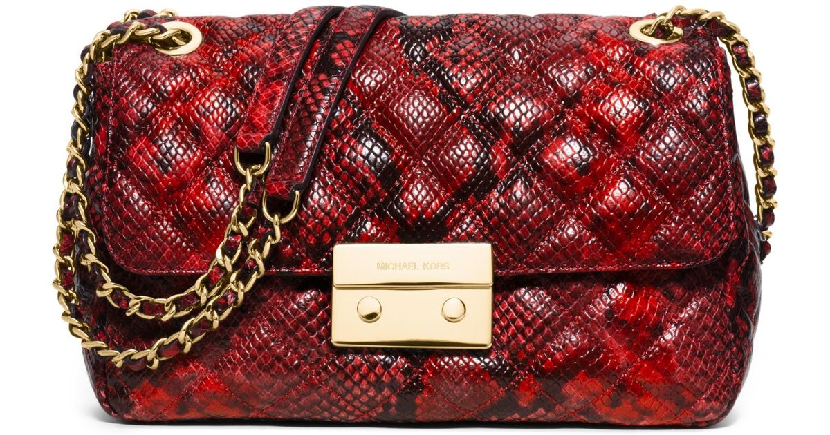 Lyst Michael Kors Sloan Large Quilted Embossed Leather
