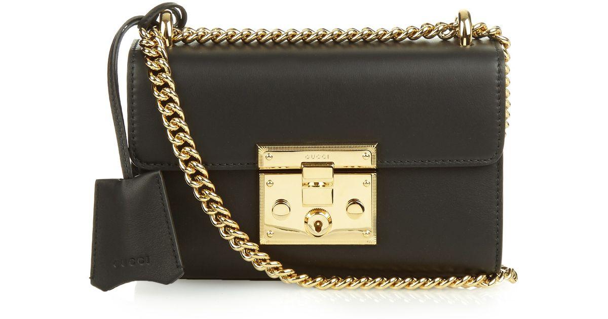 5c78a7f61fe Gucci Padlock Mini Leather Shoulder Bag in Black - Lyst