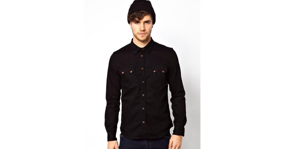 03c53c8f4d Lyst - Nudie Jeans Nudie Denim Shirt Gusten Black On Blue in Blue for Men
