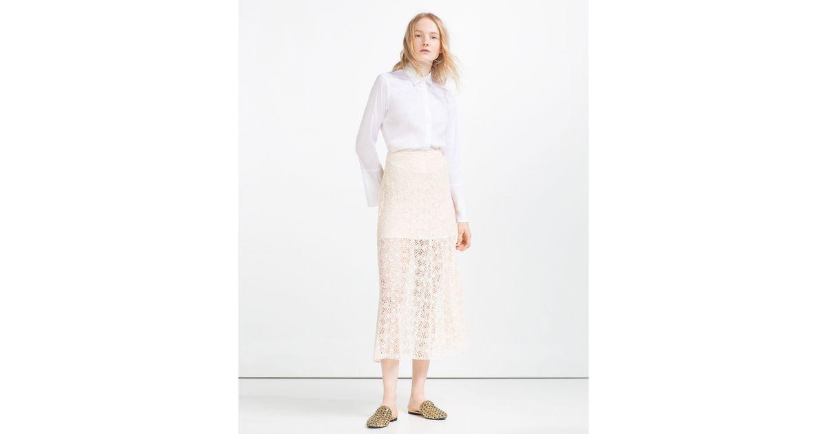 zara lace layer midi skirt in white lyst
