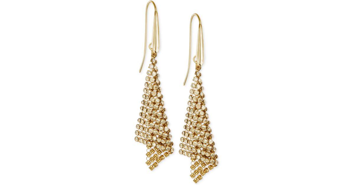 b0ab2ade4f464 Swarovski Metallic Gold-tone Crystal Mesh Drop Earrings