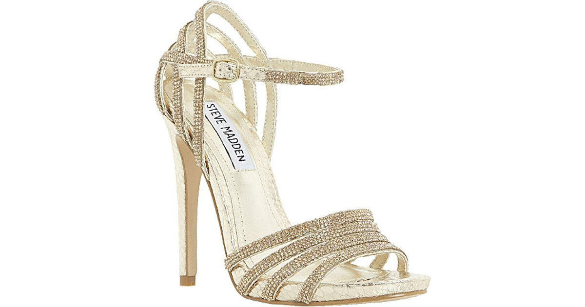 453215d8e51 Steve Madden Cagged Diamante Strappy Heeled Sandals - For Women in Metallic  - Lyst