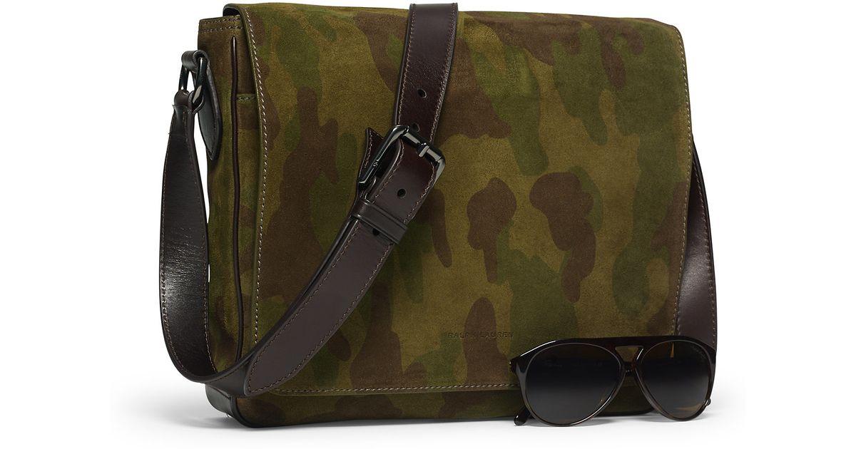 Ralph Lauren Camo Suede Cross Body Bag In Camouflage