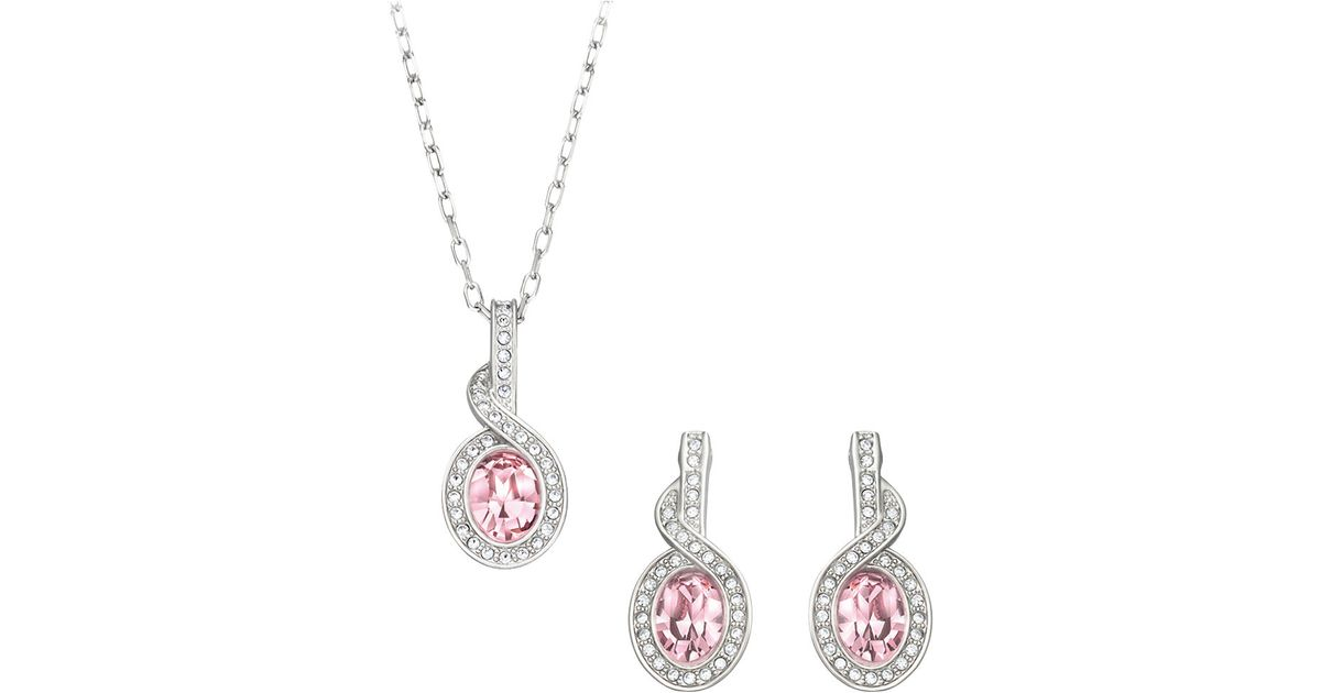 Lyst Swarovski Tyra Silver Tone Rose Crystal Necklace And Earrings Set In Pink