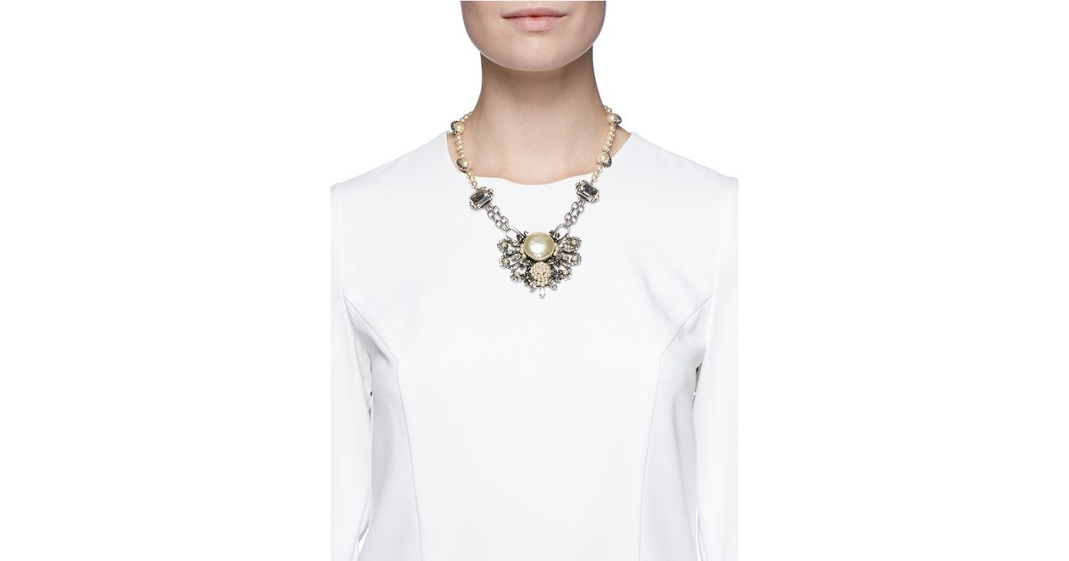 081f83ff9 Lyst - Miriam Haskell Pearl Crystal Station Floral Pendant Necklace in White