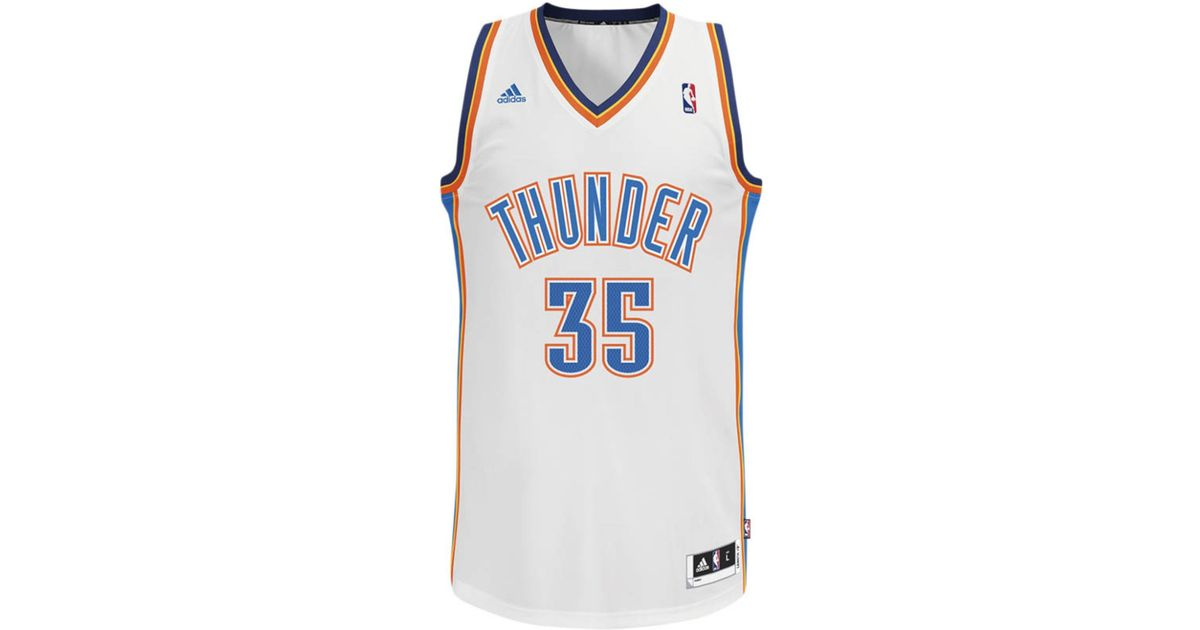 promo code c47c0 079cf Adidas White Men's Oklahoma City Thunder Kevin Durant Jersey for men