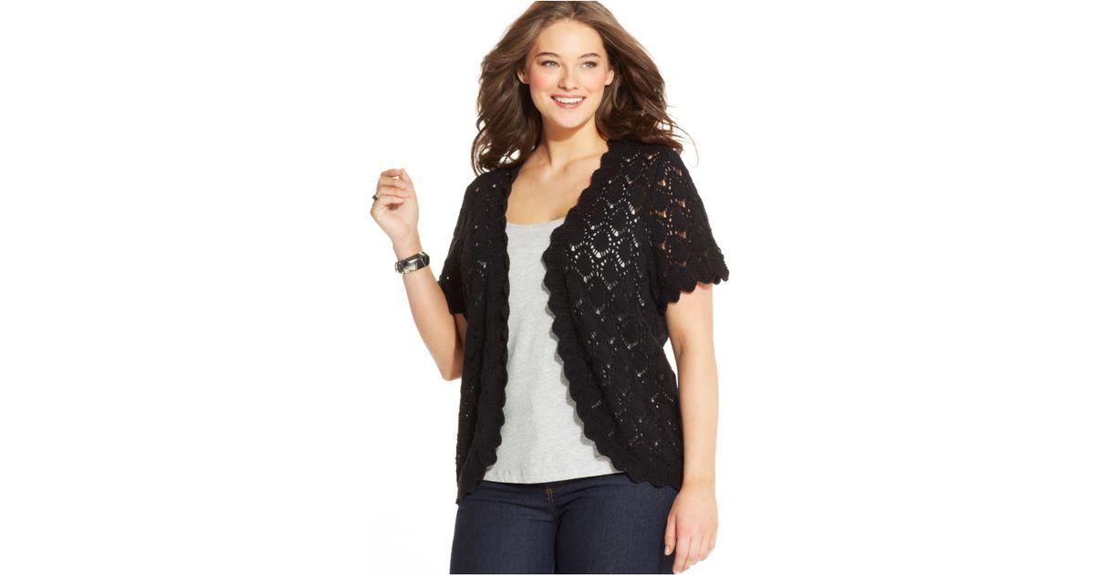 Style Co Plus Size Short Sleeve Crochet Cardigan In Black Lyst