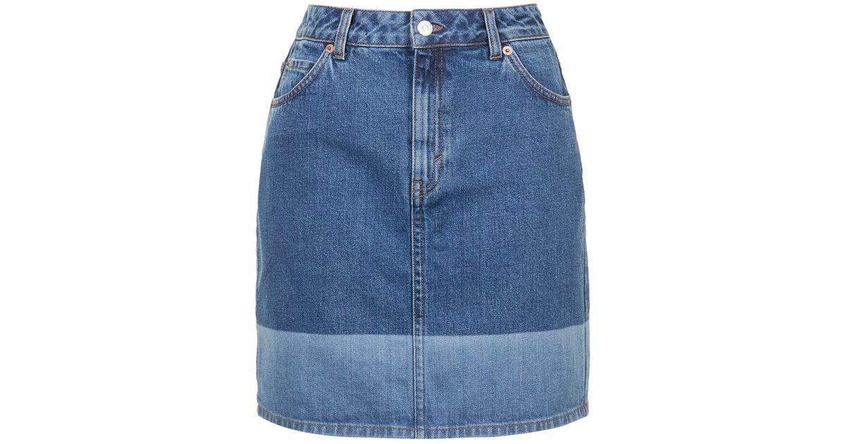 dc372343b2 TOPSHOP Moto Laser High-waisted Skirt in Blue - Lyst