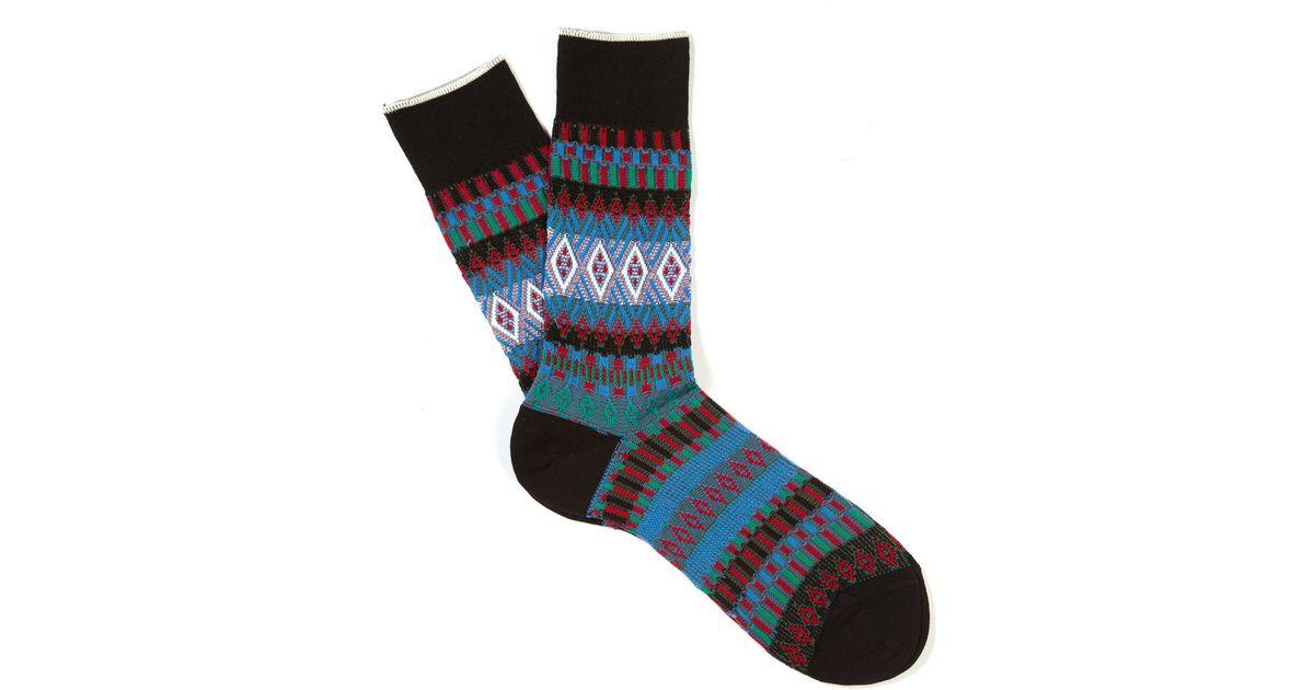 Lyst - Smythson Black Fairisle Basket Weave Socks in Blue for Men