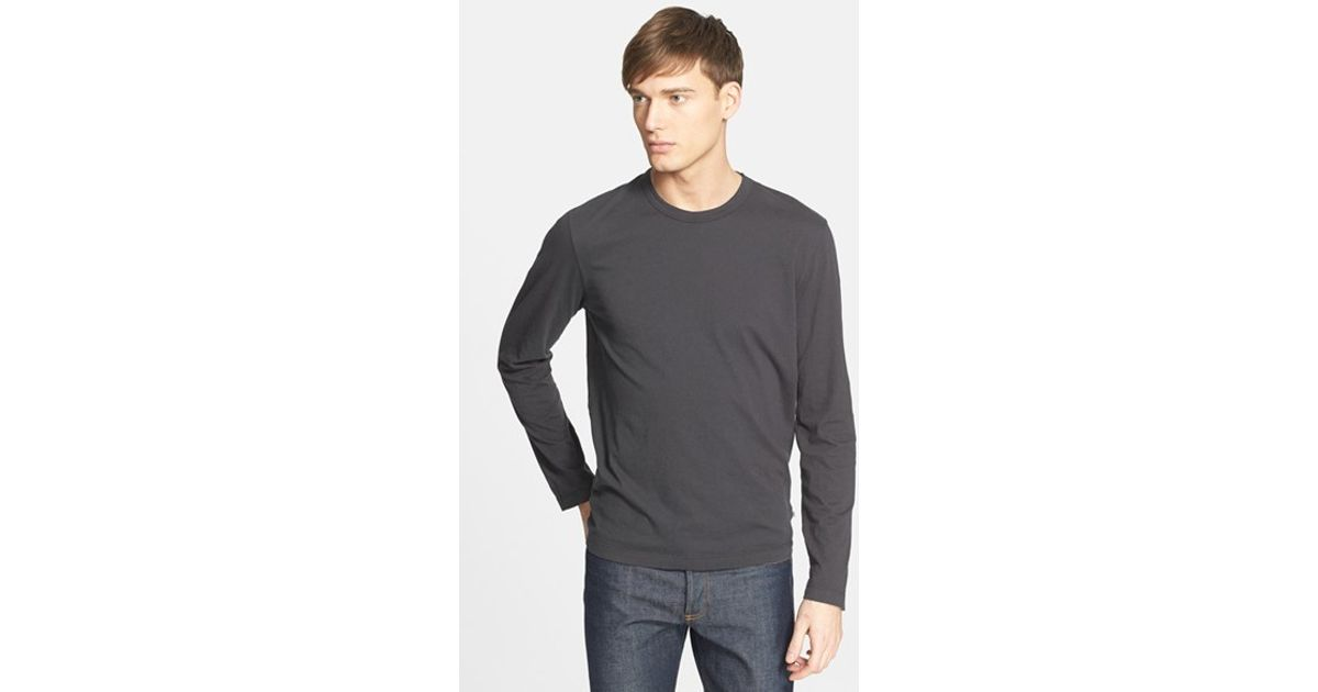 James perse long sleeve crewneck t shirt in black for men for James perse t shirts sale