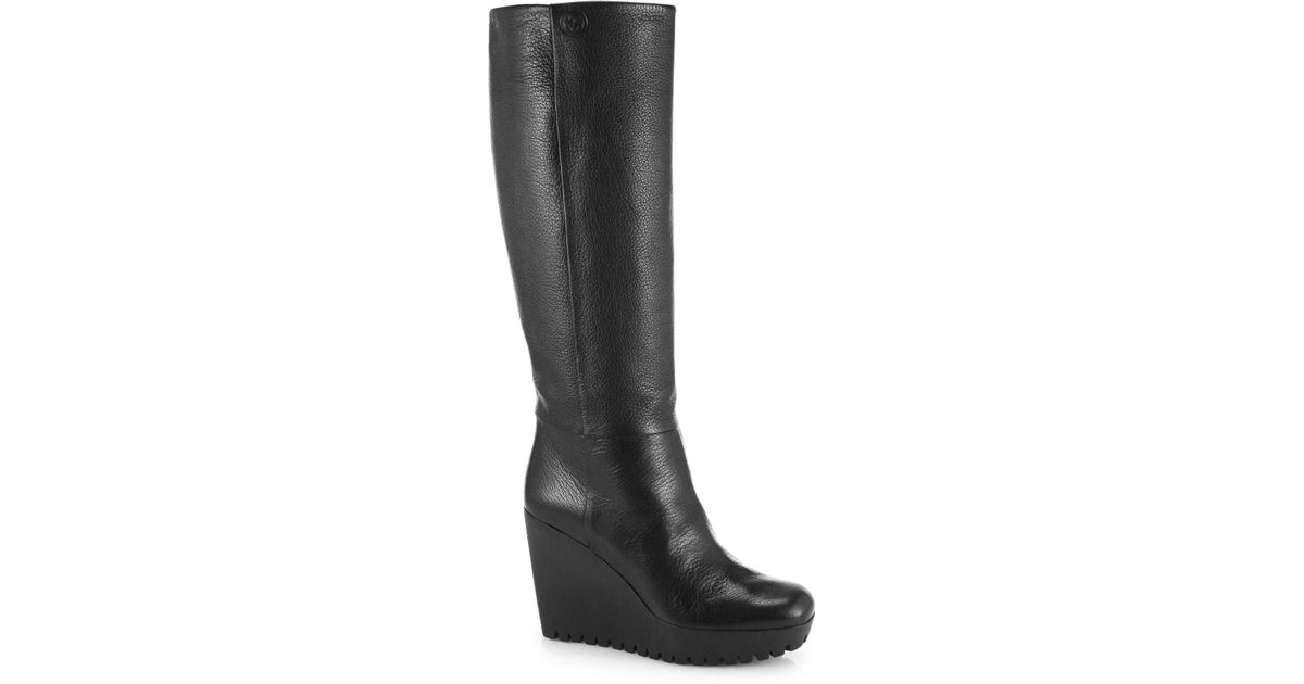 71fb3804b1f Lyst - Gucci Marion Knee-High Leather Wedge Boots in Black