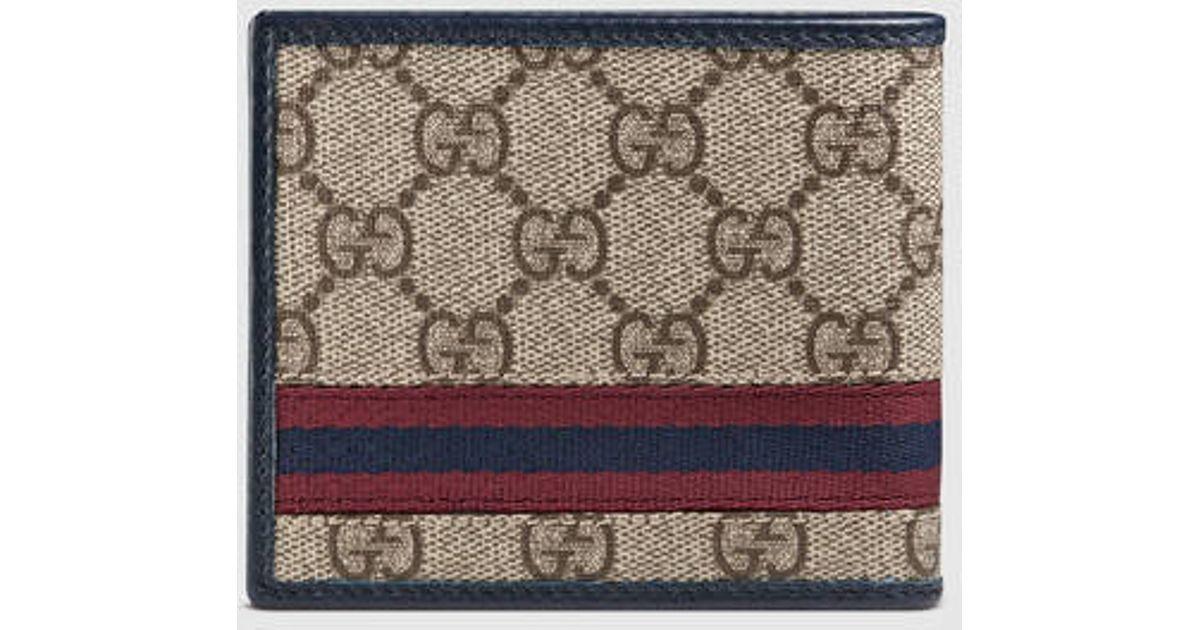 8037f844 Gucci Blue Gg Supreme Web Billfold Wallet for men