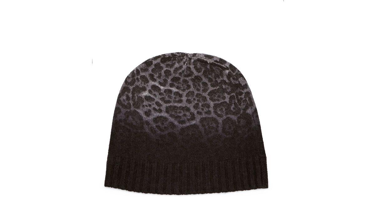 7b5c6b33a7c1a Lyst - Neiman Marcus Cashmere Leopard-print Hat in Gray