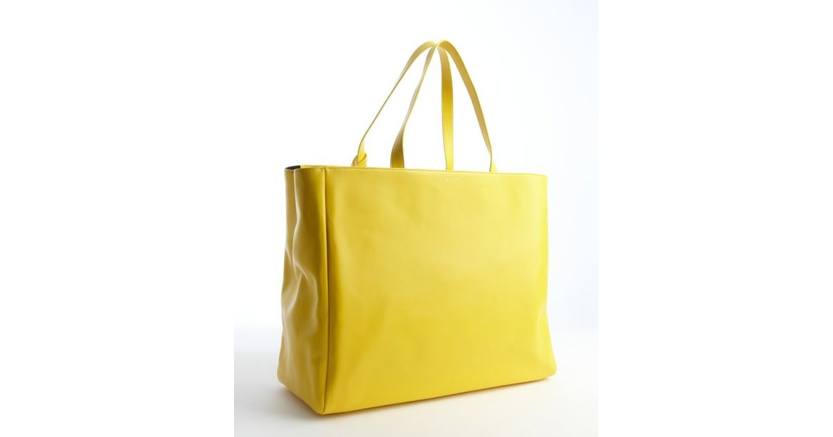 3ff33e593757 Lyst - Saint Laurent Canary Yellow Leather Oversized Large Tote with  Pouchette in Yellow