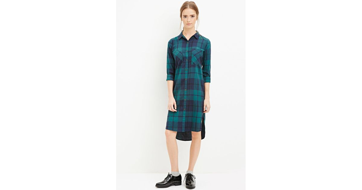 Forever 21 Plaid Midi Shirt Dress In Green Green Navy Lyst
