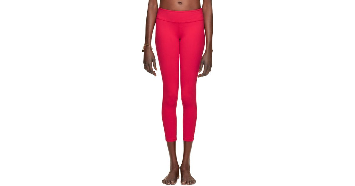 Kate spade back bow legging in pink posy red lyst