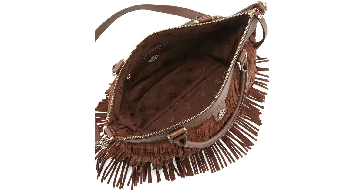 231c94cb9226 Lyst Tory Burch Leather Fringe Tote Bag Chocolate In Brown