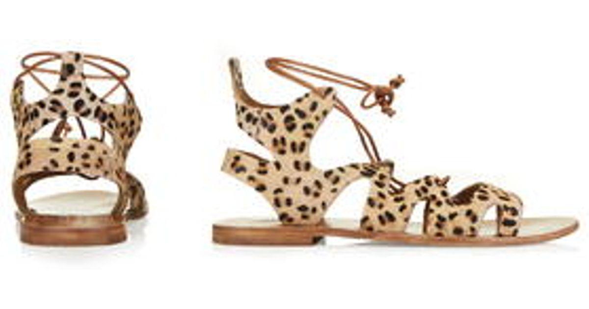 TOPSHOP Fig Leopard Lace-Up Sandals - Lyst