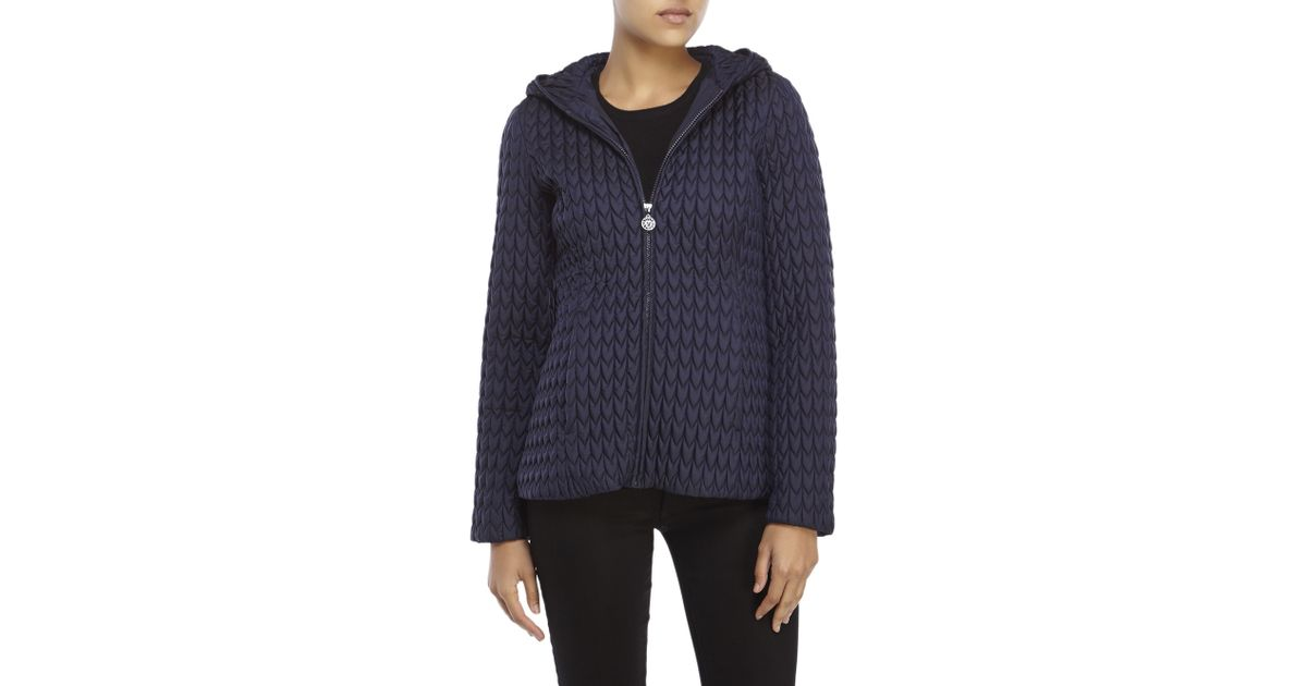 Anne Klein Synthetic Navy Popcorn Quilted Hooded Jacket In