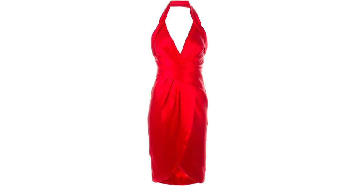 Moschino Halter Cocktail Dress In Red